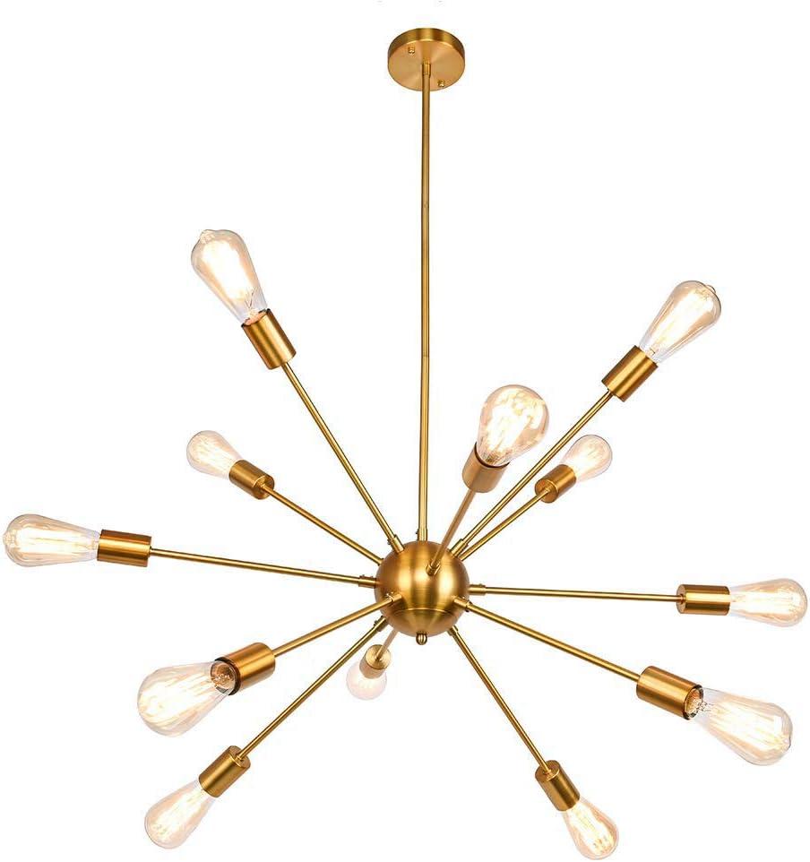 12-Head Satellite Ceiling Light Fixture, SUN RUN Industrial Brushed Brass Chandeliers Modern Metal Pendant Lamp for Dining Room Kitchen, Golden