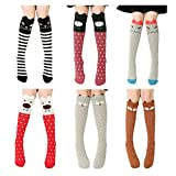 VWU 6 Pack Girls Animal Tube Socks Cotton Stocking Socks Knee High Socks 3-12Y (Suit 3-12 years old girls, Cartoon 4 (6 pack))
