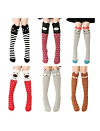 VWU 6 Pack Girls Animal Tube Socks Cotton Stocking Socks Knee High Socks 3-12Y