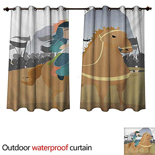 WilliamsDecor Chinese 0utdoor Curtains for Patio Waterproof Far Eastern History Theme Military General Leading His Army Antiquity War Scenery W72 x L72(183cm x 183cm)
