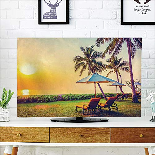 iPrint LCD TV dust Cover Strong Durability,Seaside,Empty Umbrella and Chairs on The Beach Palm Trees at Twilight Times Vacation Theme,Multicolor,Picture Print Design Compatible 60