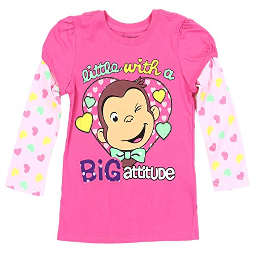 - Curious George Little Girls' Toddler Mock Layer Long Sleeve Tee, Pink (2T)