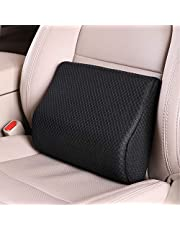 TISHIJIE Memory Foam Lumbar Support Pillow for Car - Mid/Lower Back Support Cushion - for Car Seat, Office Chair, Recliner Etc. (Black)