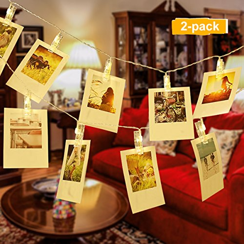 Lalapao Photo Clips String Lights 2 Pack 30 LED Christmas Decor Lights Battery Operated Led String Lights Perfect for Hanging Photo Picture Card Indoor Outdoor Home Bedroom Wedding Party (Warm White) (Cards On Stairs Display Christmas)