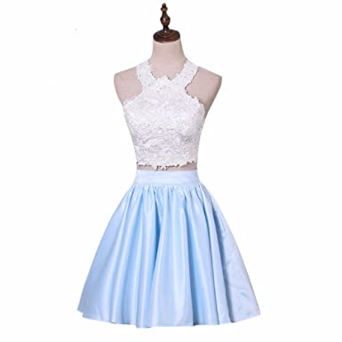 songya Two Piece Lace Ball Gown Prom Dress Satin Evening Gown SY030 ...