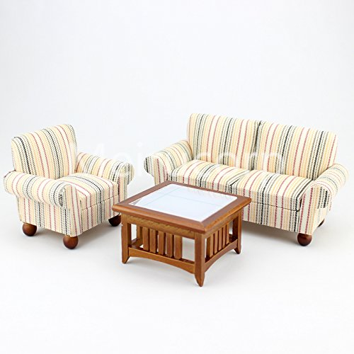 Meirucorp Dollhouse 1/12 Scale Miniature Furniture Striped Sofa Chair and Tea Table Parlor 3pcs Gifts