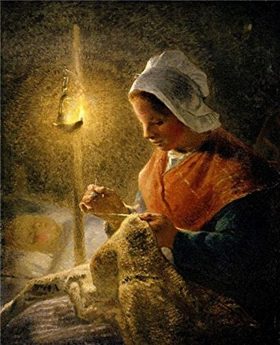 [The Perfect Effect Canvas Of Oil Painting 'Jean-Francois Millet - Woman Sewing By Lamplight, 1870-72' ,size: 16x20 Inch / 41x50 Cm ,this Replica Art DecorativeCanvas Prints Is Fit For Home Theater Artwork And Home Gallery Art And Gifts] (Sparkle Belted Jeans)