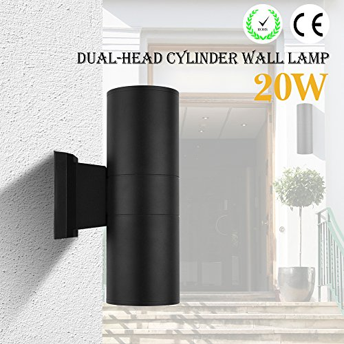 Houkiper LED Wall Light 20W cob Up Down Dual-Head Cylinder IP65 Waterproof Aluminum Wall Sconces Lamp Lantern Light Fixture for Living Room Cafe Holtel Corridor Indoor Outdoor Decoration (Warm (Dual Cylinder)