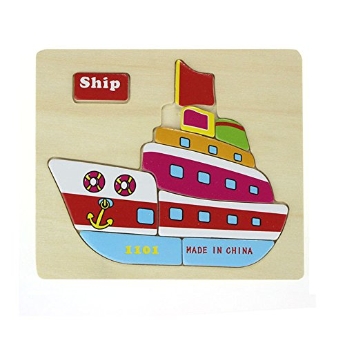 toy,Pikolai Wooden Blocks Animals Kid Children Educational Toy Puzzle Ship