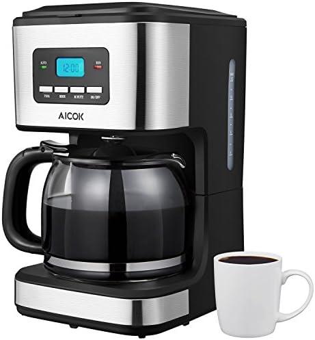 Cafetera, Aicok Cafetera Goteo 12 Tazas, Cafetera Goteo Programable 12 Tazas con Jarra de Vidrio, Cafetera Goteo Filtro Permanente, 900W, Negro: Amazon.es: Hogar