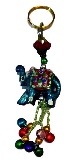 keralagr Llavero elefante lacado con cascabeles (turquesa ...