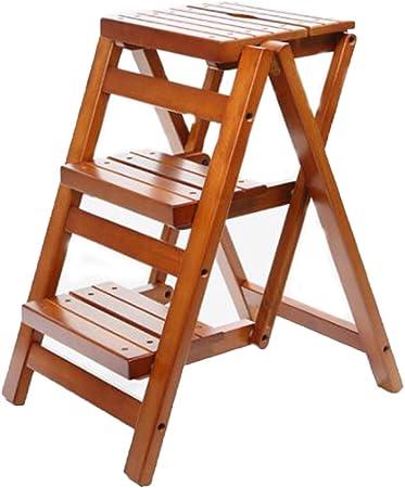 Taburete plegable de 3 niveles de madera maciza, Escalera de cocina en casa Sillas sencillas Ahorre Escalera espacial Taburete Plegable Taburete pequeño Banqueta portátil Taburete de paso,Brown: Amazon.es: Hogar