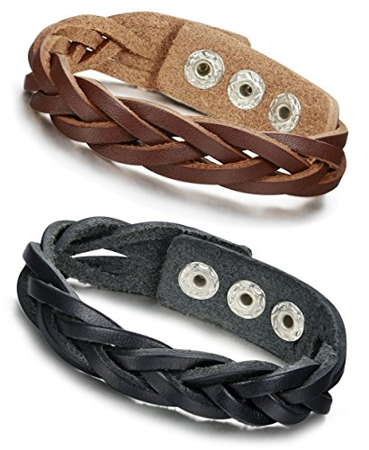 Jstyle Braided Leather Bracelet Adjustable product image
