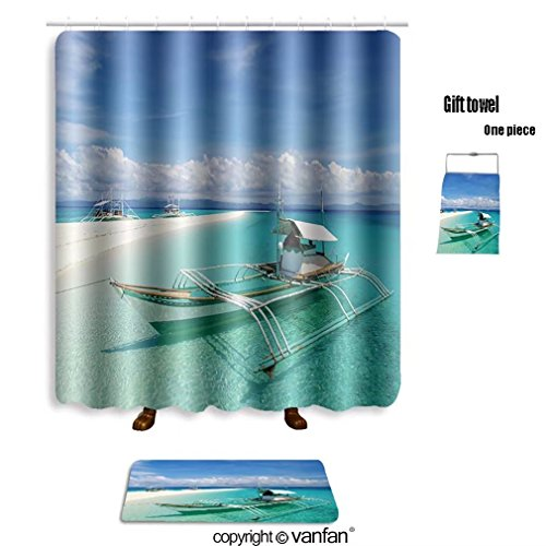 vanfan bath sets with Polyester rugs and shower curtain holidays on tropical island 48275680 shower curtains sets bathroom 72 x 88 inches&31.5 x 19.7 inches(Free 1 towel and 12 hooks)