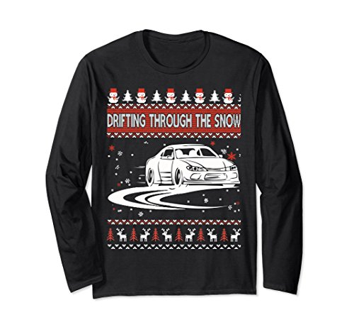 Unisex Drifting Through The Snow Ugly Christmas Sweater Large Black (Snow Drifting)