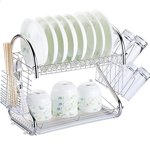 - Stainless Steel Dish Drying Rack, 2 Tiers Kitchen Dish Holder Drainer Rack Tray, Cutlery Holder Organizer