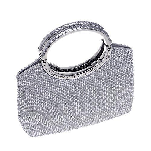 AIJUN Triangle Full Rhinestones Women's Evening Clutch Bag Party Prom Wedding Purse (Luxry Silver)