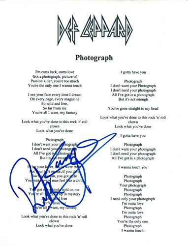 Rick Savage Signed Autographed Def Leppard PHOTOGRAPH Lyric Sheet COA