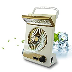 51Ds9bXuuyL. SS300  - BicycleStore 3 in 1 Multi-function Portable Mini Fan LED Table Lamp Flashlight Solar Light for Home Camping