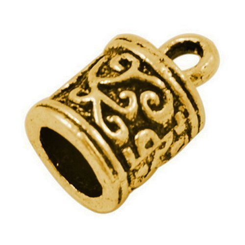 Pack Of 20 x Antique Gold Plated Alloy 6mm Kumihimo Tibetan End Caps - (HA03275) - Charming Beads (Gold End Caps)