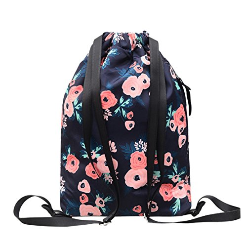 MORHUA Backpack Drawstring Bag Gymbag Drawstring Backpack Sports Travel Yoga Gymsack (Blue Wealth Flower) by MORHUA (Image #1)