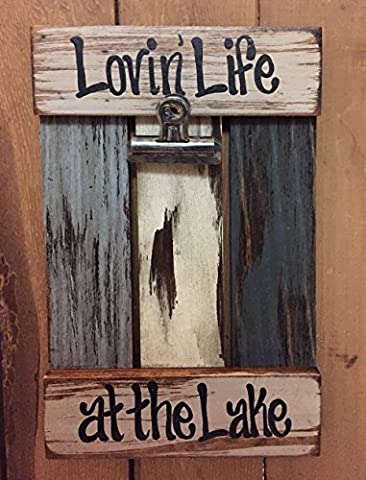 LAKE PHOTO HOLDER Shutter / Pallet Wall Wood Picture Frame Reclaimed - LOVIN' LIFE AT THE LAKE - Apple Coral Handle