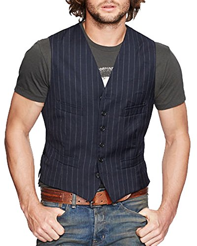 Polo Ralph Lauren Denim & Supply Mens Navy Wool Pinstripe Vest (Ralph Lauren Pinstripe Suit)