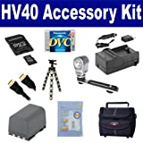 Canon HV40 Camcorder Accessory Kit includes: SDBP2L12 Battery, SDM-118 Charger, M45547 Memory Card, DVTAPE Tape/ Media, ST80 Case, HDMI6F AV & HDMI Cable, ZELCKSG Care & Cleaning, ZE-VLK18 On-Camera Lighting, GP-22 Tripod