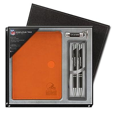National Design NFL Cleveland Browns Gift Set - Orange Journal - LED Flashlight Keychain - Mechanical Pen & Pencil (13939-NFL-QRU-O)