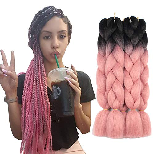 Pink Rose Crochet - 5 Pieces 2 Tone Ombre Braiding Hair Crochet Braids Synthetic Hair Extensions 24 Inch (Black/Orange Pink#, 5pcs/Lot)