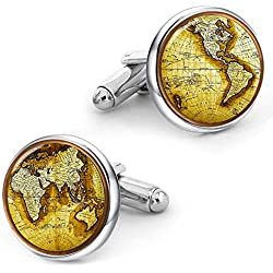 Kooer Vintage World Map Cufflinks Handmade Custom Personalized Map of the World Cuff Links For Men Gift (Silver plated cufflinks)