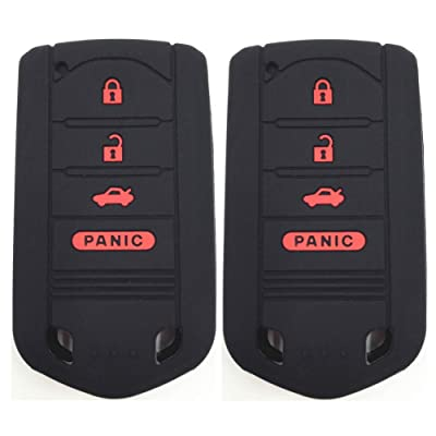 Ezzy Auto A Pair Black with Red Buttons Silicone Rubber Key Fob Case Key Covers Key Jacket Skin Protectors fit for Acura ILX RDX TL ZDX: Automotive
