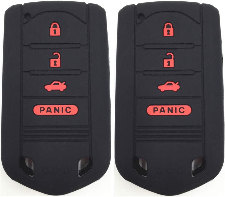 Ezzy Auto A Pair Black with Red Buttons Silicone Rubber Key Fob Case Key Covers Key Jacket Skin Protectors fit for Acura ILX RDX TL ZDX