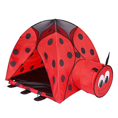 wonderfulwu 2-in-1 Kids Play Indoor/Outdoor Tunnel and Play Tent Ladybug Cartoon Beach Sun Pop Up Tent Playground Beetle Game House for Children Kids Play