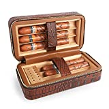 LAGUTE Travel Leather Cigar Humidor Case, Cedar Wood Lined with...