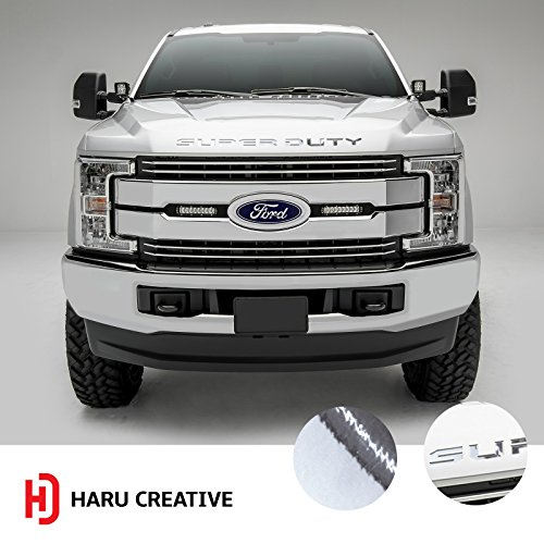 Haru Creative - Hood Grille Letter Insert Overlay Vinyl Decal Compatible with and Fits 2017 2018 Ford Super Duty F250 F350 F450 - Chrome Silver ()