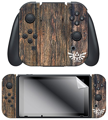 Controller Gear Nintendo Switch Skin   Screen Protector Set  Officially Licensed By Nintendo   The Legend Of Zelda Botw  Woodgrain Triforce  Joy Con Only   Nintendo Switch