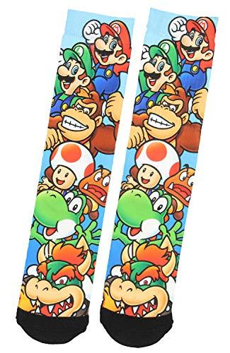 Nintendo Super Mario Luigi Donkey Kong Yoshi Characters Sublimated Crew Socks -