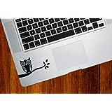Owl on Branch - Trackpad / Keyboard - Vinyl Decal (Black)