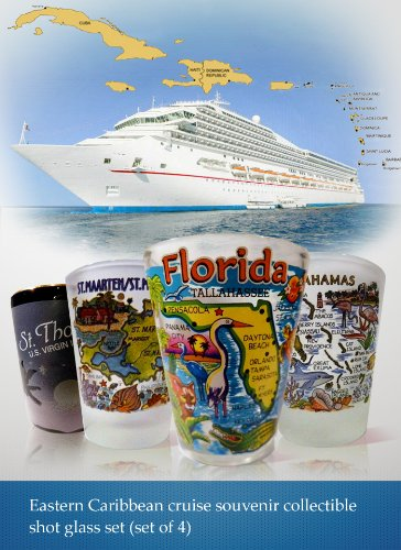 Eastern Caribbean Cruise Shot Glass Set #1 (Florida, St.Thomas, St.Martin, Bahamas) (Martin Glasses)