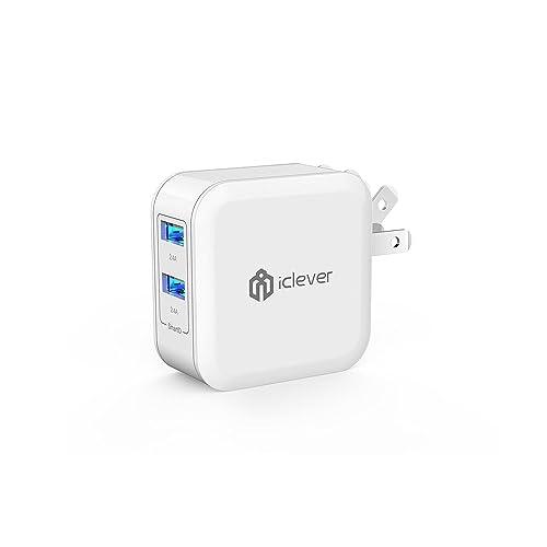 iClever 2ポート USB充電器 4.8A 24W 折り畳み式プラグ 海外対応 iPhone スマホ タブレット 急速充電器 ホワイト IC-TC02