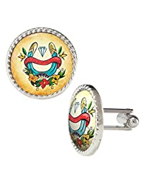Make Your Luck Horseshoe Illustration with Flowers Cufflinks