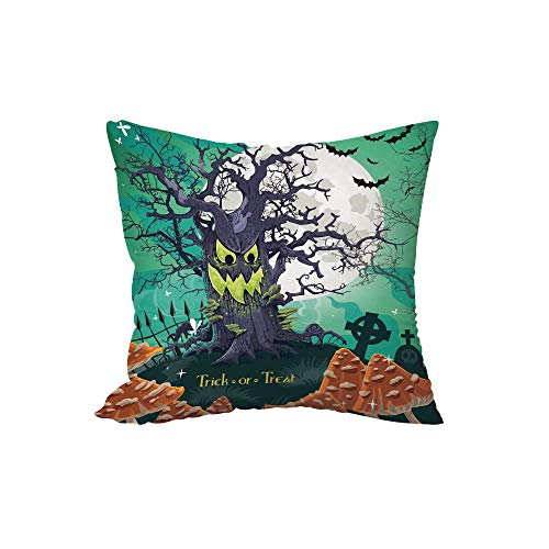 Polyester Throw Pillow Cushion,Halloween Decorations,Trick or Treat Dead Forest with Spooky Tree Graves Big Kids Cartoon Art,Multi,15.7x15.7Inches,for Sofa Bedroom Car Decorate -