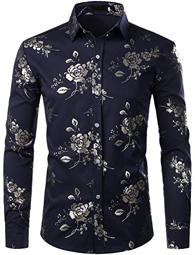 ZEROYAA Men's Hipster Golden Rose Printed Slim Fit Long Sleeve Floral Party Dress Shirts ZZCL28 Navy Blue Small
