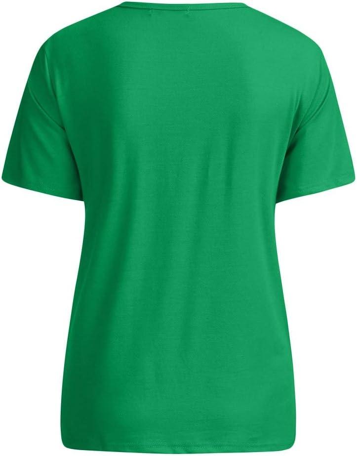 Patricks Day T-Shirt for Women Green Short Sleeve Pullover Blouse Irish Lucky Shamrocks Fashion Print Tees Tops St