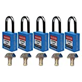 Mason Lockout Tagout 5 Pack KEYED Differently Safety Lockout Padlock, Blue Loto