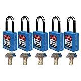 Mason Lockout Tagout 5 Pack KEYED Alike Safety Lockout Padlock, Blue Loto