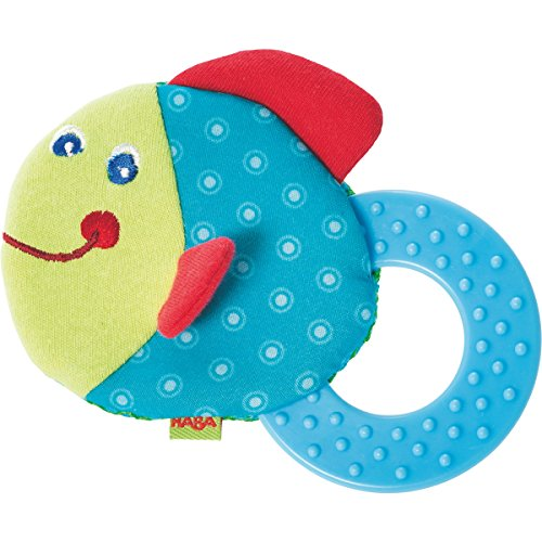 HABA Teether Chomp Champ Fish Soft Activity Toy with Crackling Foil & Plastic Teething Ring for Birth and Up