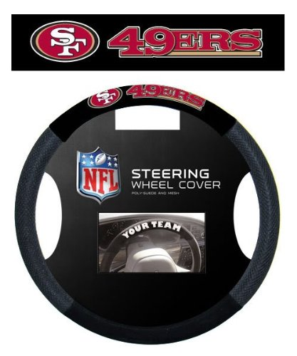 NFL San Francisco 49ers Massage Grip Steering Wheel Cover, Black, One Size (San 49ers Francisco Vinyl)
