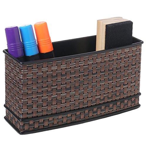 Multipurpose Metal Woven Dry Erase Marker Holder Storage Basket with Magnetic Back, Black